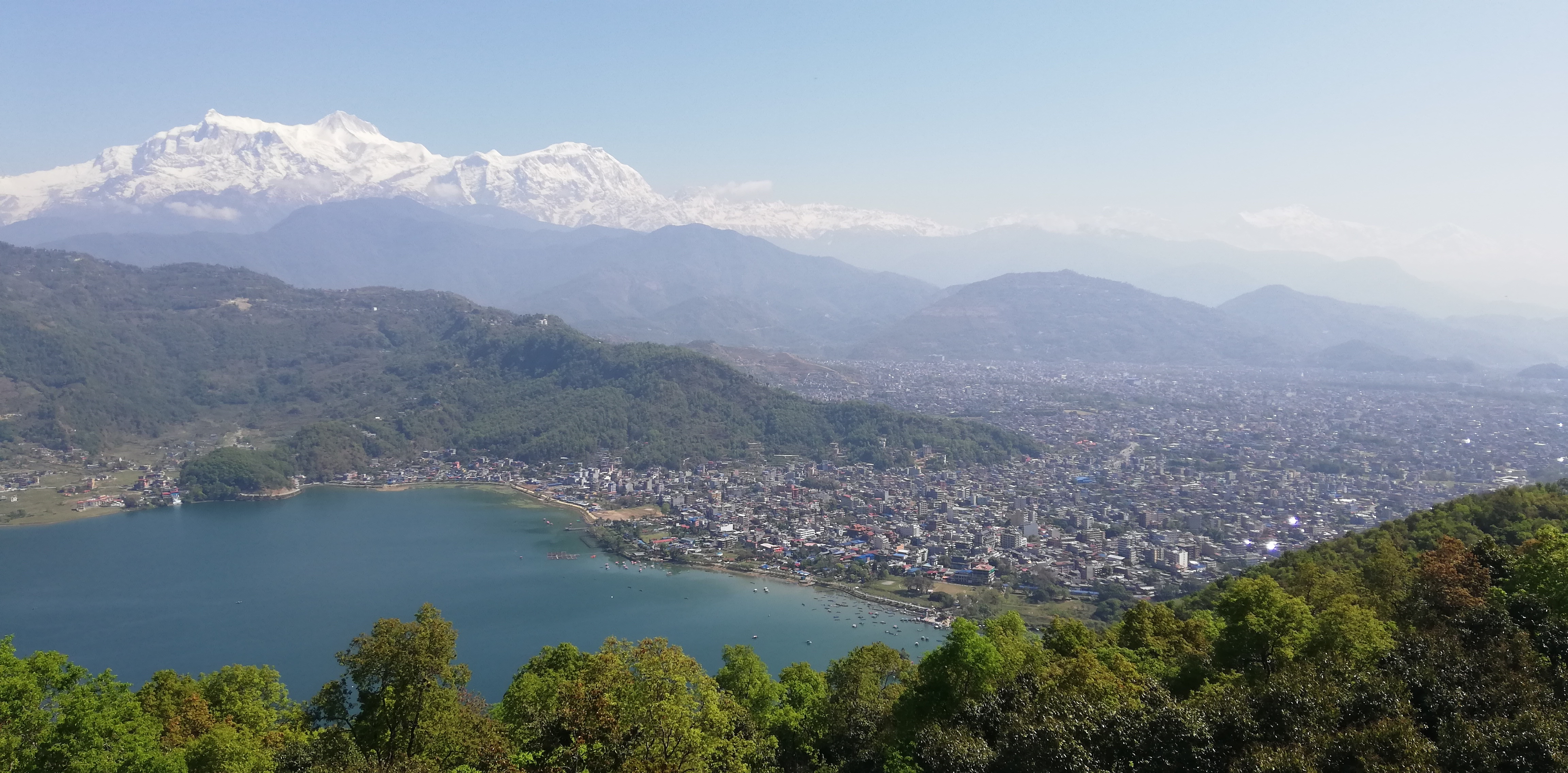 View of Pokhara and the Annapurna's, Day 1 of Panchase trek